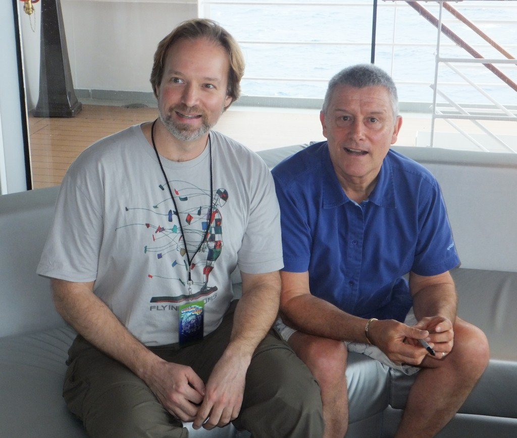 Andrew Colyer with Carl Palmer on the 2013 Cruise to the Edge