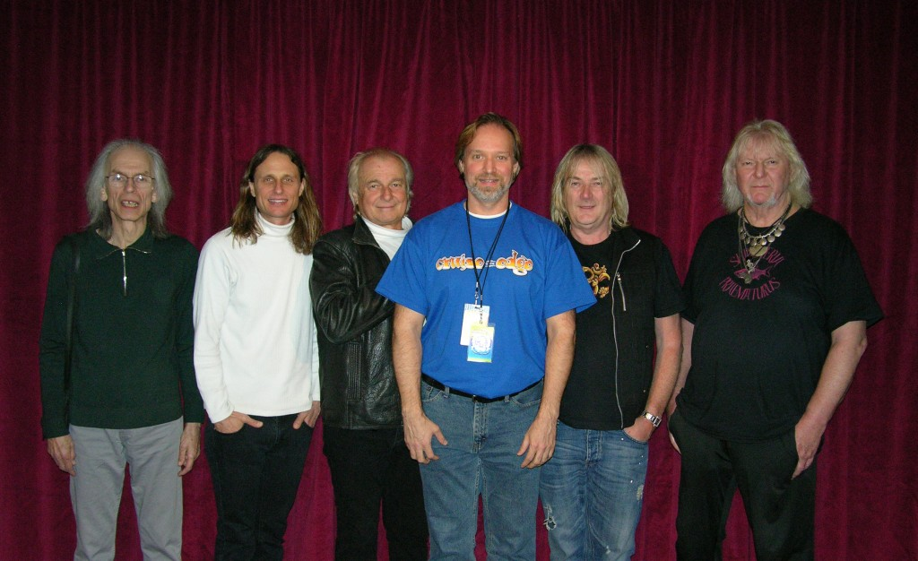 Andrew Colyer backstage at the Foxwoods Theatre with YES - Steve Howe, Jon Davison, Alan White, Geoff Downes, and Chris Squire - April 2013