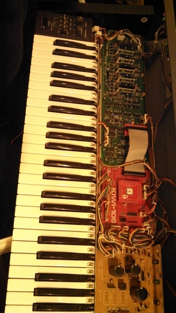 Roland Juno-106 with Kiwi-106 circuit board installed