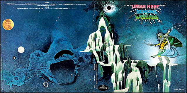 Roger Dean's large canvas artwork from this Uriah Heep album cover was for sale on the 2014 Moody Blues Cruise and the YES Cruise to the Edge
