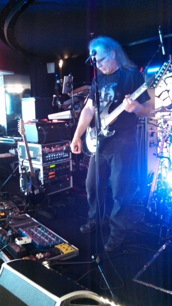 Tom Tutino of the Prog Rock Orchestra is tweaking his rig, to get it just right.