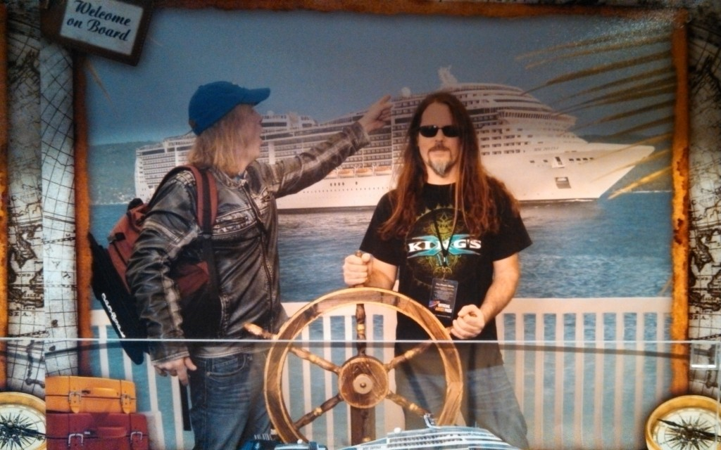 Prog Rock Orchestra's Paul Simmons and Joe Parker getting on the ship