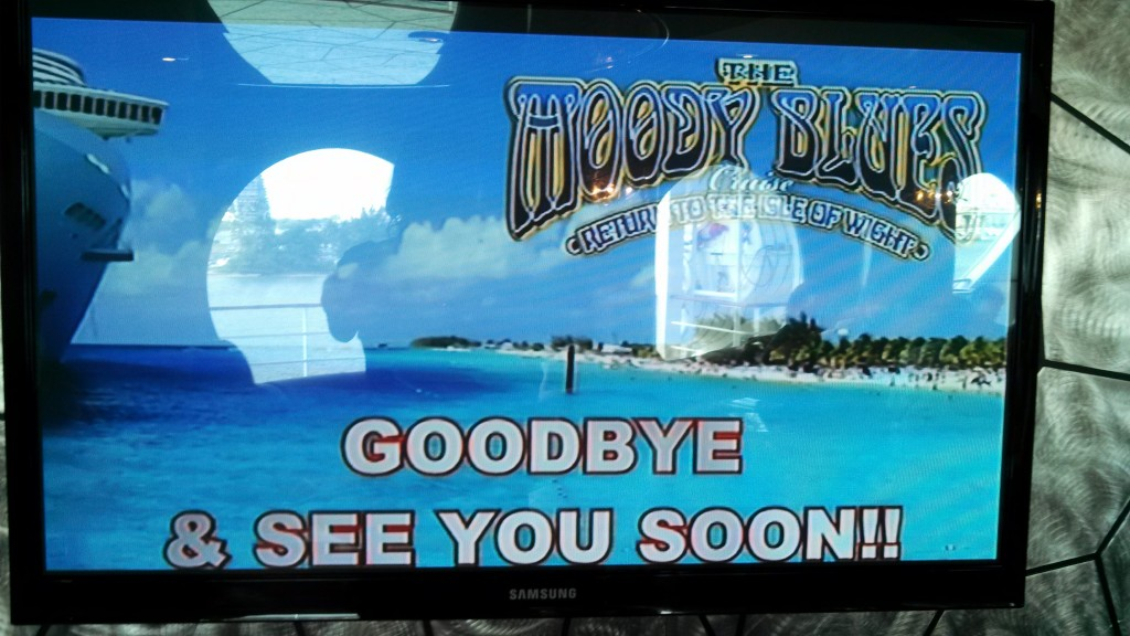 Ship TV Monitor on the last day of the 2014 Moody Blues Cruise