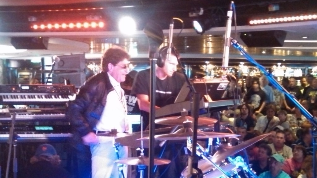 Patrick Moraz on the 2014 YES Cruise to the Edge.  Three-tiered keyboard rack belongs to Andrew Colyer, who helped the Moraz crew with tech support.